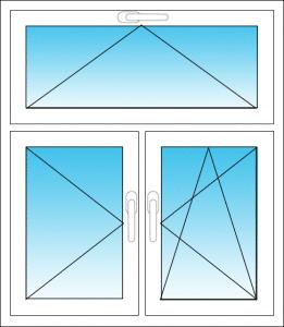 Dreiteiliges Fenster mit Oberlicht
