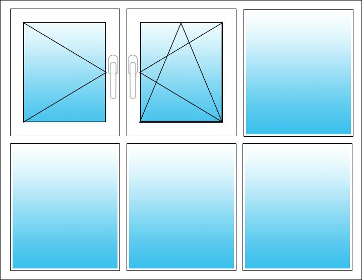 Oben links Dreh, Mitte Dreh-Kipp