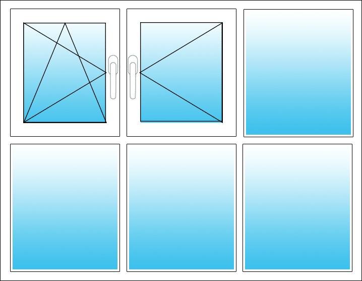 Oben links Dreh-Kipp, Mitte Dreh