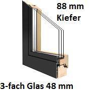 Duoline 88 mm Kiefer mit 3-fach Verglasung 48 mm