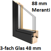 Duoline 88 mm Meranti mit 3-fach Verglasung 48 mm