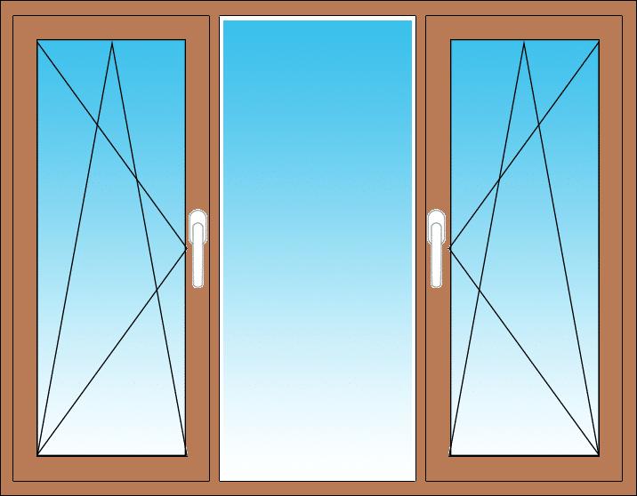 nach Maß 2 Flügel Fenster Dreh// Dreh Kipp 2 oder 3 fach verglast