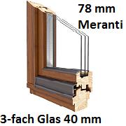 Softline 78 mm Meranti mit 3-fach Verglasung 36 mm