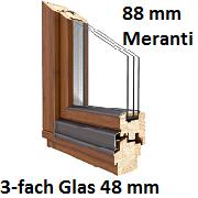Softline 88 mm Meranti mit 3-fach Verglasung 48 mm