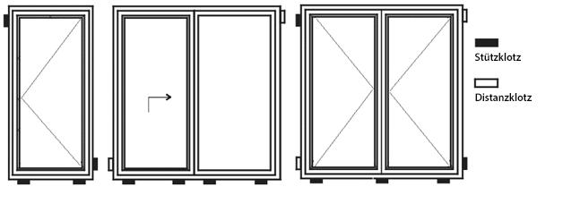 Klötze bei der Montage von Fenstern und Türen